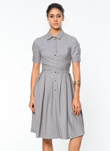 Çizgili Gömlek Elbise-Utopian
